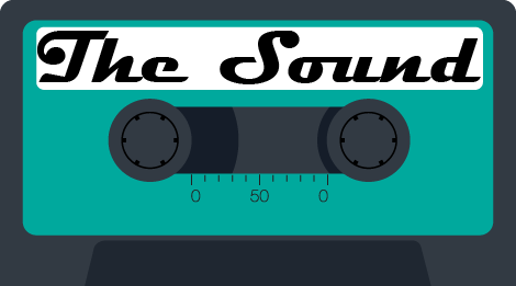 An illustration of a teal colored cassette tape labeled The Sound.
